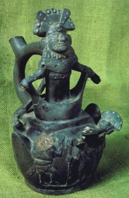 Stirrup-spout vessel with mountain sacrifice scene