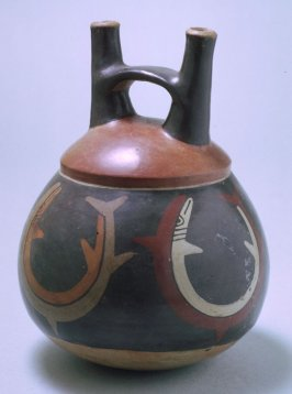 Stirrup-spouted vessel with fish images
