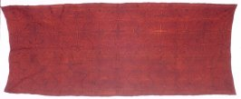 Skirt panel: black crosses and lines on red/brown