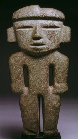 Standing figure with cleft head and slit eyes
