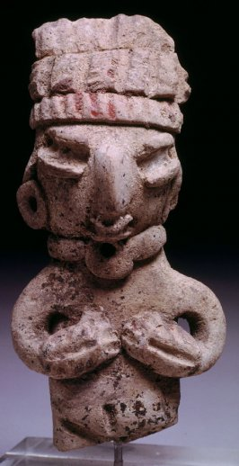 Figure with three-tiered headdress - torso and head only