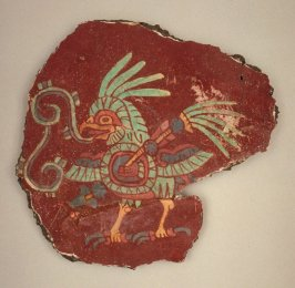 Mural fragment (bird with shield and spear)