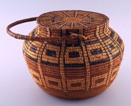 Basket with lid and long loop handle