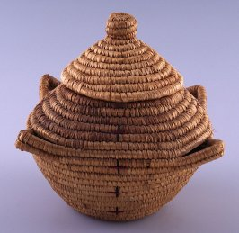 Covered basket with four handles
