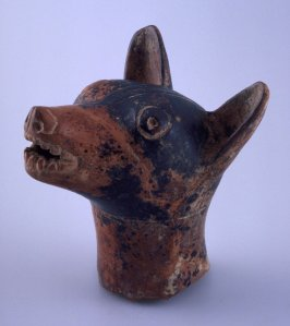 Sculpture of dog head Colima