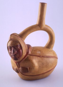 Stirrup-spout vessel in the shape of a peanut-man composite figure