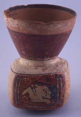 Vessel with two faces and conical neck