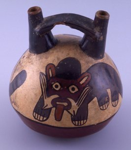 Stirrup-spouted jug with jaguars