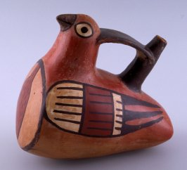 Stirrup vessel in shape of bird