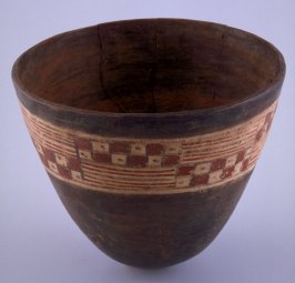 Vessel with lines and checkerboard pattern