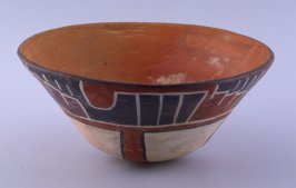 Bowl with large, red cross on bottom