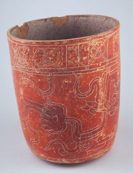 Orange vessel with water lily monster