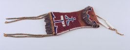 Narrow pouch, fringed at top and bottom with tassels