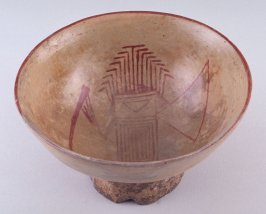 Pedestal bowl with abstract standing figure