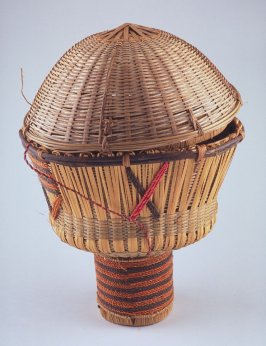 Covered basket with neck-like handle