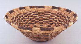 Coiled basket with brown bar design
