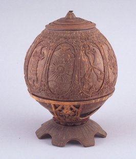 Oval container with oval designs with lid