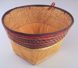 Basket with top band of leather