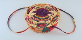 Basket with attached lid and two loop handles