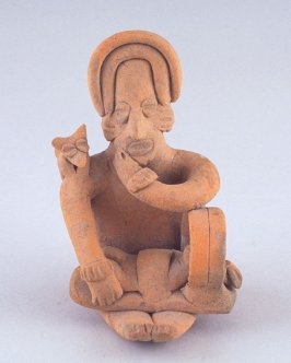 Seated figure with dog on one shoulder