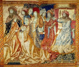 Tapestry fragment depicting a scene at a royal court