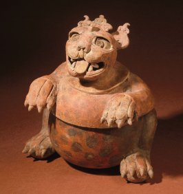 Lidded jaguar vessel