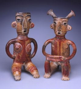 Seated male and female