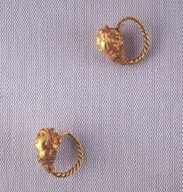 Pair of Earrings with Maenad Heads