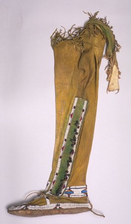 Legging and moccasin for woman's left foot
