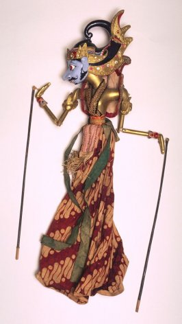 Wayang Golek doll with blue face and gold helmet