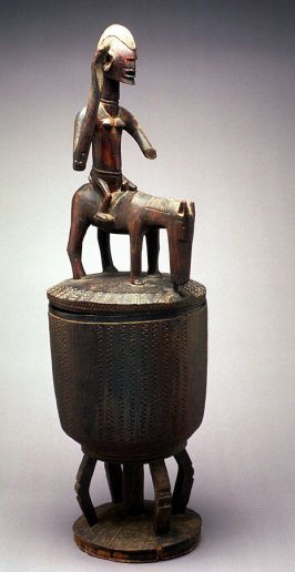 Lidded bowl with Equestrian figure