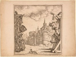 Design for the Second Act of 'Esione with Fortifications and Catapults
