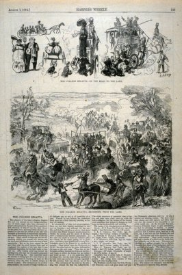 The College Regatta - On the Road to the Lake / Returning from the Lake, from Harper's Weekly, (1 August 1874), p. 633