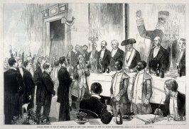 Annual Dinner of the St. Nicholas Society of New York - Bringing in the Old Dutch Weather-Cock, from Harper's Weekly, (29 December 1877), p. 1032