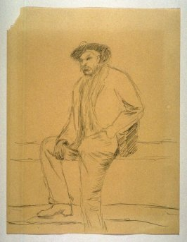 Study of a Man with a Hat sitting on a Fence