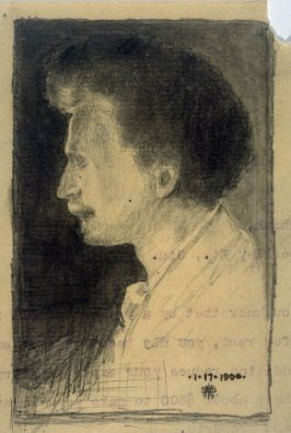 Pencil sketch of a Man on the back of a letter to Mr. Achenbach