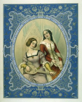 Untitled frontispiece (two women) in the book, The Charm: a Series of Elegantly Colored Groups (Philadelphia: Carey and Hart, [1848])