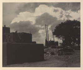 North House, Kiva, and Thunder Clouds, plate XI from Taos Pueblo (San Francisco: Grabhorn Press, 1930)
