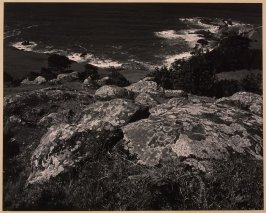 Lichened Rocks, Distant Shore, Timber Cove (California)