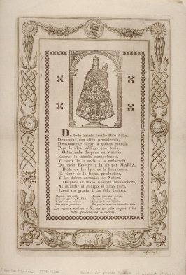 "Border for printed ""Soneto"" with image of Virgin"