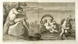 Fistulam inflat Polyphemus…, second plate in Picturae Francisci Albani in aede Verospia ([Rome?]: no publisher, [1704?]), second part in miscellany with spine title: Opere d. div. pittori et gugliae di Roma.