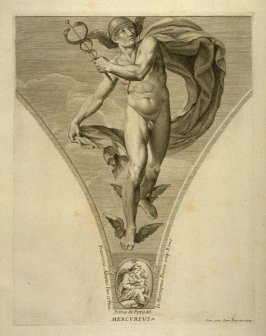 Mercurius, eighth plate in Picturae Francisci Albani in aede Verospia ([Rome?]: no publisher, [1704?]), second part in miscellany with spine title: Opere d. div. pittori et gugliae di Roma.