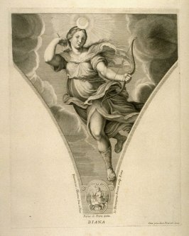 Diana, ninth plate in Picturae Francisci Albani in aede Verospia ([Rome?]: no publisher, [1704?]), second part in miscellany with spine title: Opere d. div. pittori et gugliae di Roma.