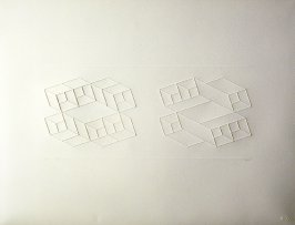 Embossed Linear Constructions 1-B, from a portfolio of 8 inkless embossings