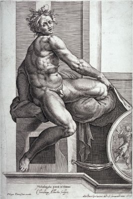 Seated Man Holding a Drape, from the series Studies of Seated Men after Michelangelo's frescoes in the Sistine Chapel, the Vatican, Rome