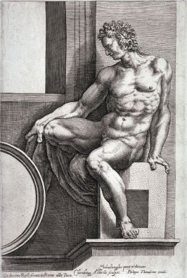 Seated Man Facing Left, from the series Studies of Seated Men after Michelangelo's frescoes in the Sistine Chapel, the Vatican, Rome