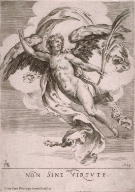 Winged Genius Gesturing and Holding a Palm Branch