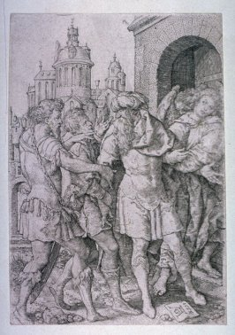 From a set of 4 plates. The Story of Lot. Lot prevents the inhabitants of Sodom from violence