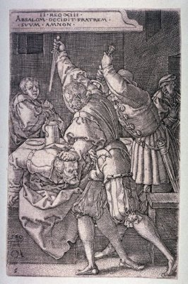 From the set of seven plates, The Story of Amnon and Tamar. Absolom killing Amnon