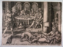 After the set of five plates, the story of the rich man and Lazarus. Lazarus at the door of the rich man